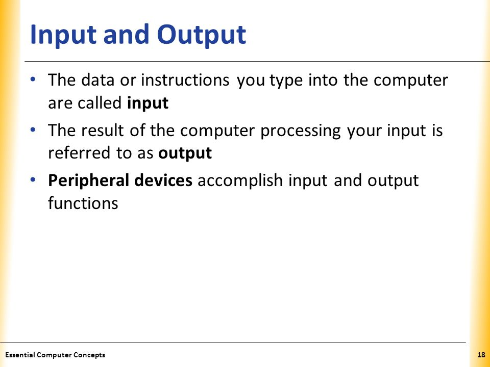 XP Input and Output The data or instructions you type into the computer are called input The result of the computer processing your input is referred to as output Peripheral devices accomplish input and output functions 18Essential Computer Concepts