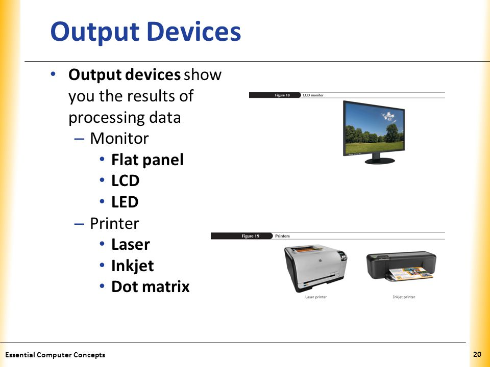 XP Output Devices Output devices show you the results of processing data – Monitor Flat panel LCD LED – Printer Laser Inkjet Dot matrix 20 Essential Computer Concepts