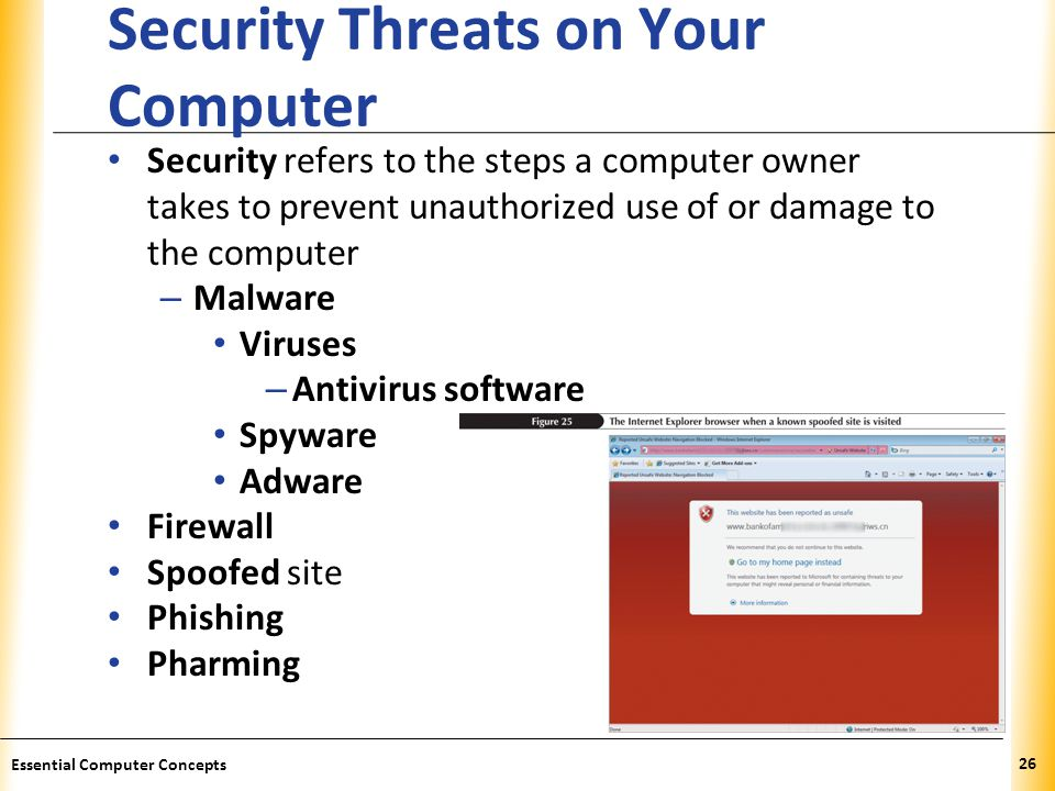 XP Security Threats on Your Computer Security refers to the steps a computer owner takes to prevent unauthorized use of or damage to the computer – Malware Viruses – Antivirus software Spyware Adware Firewall Spoofed site Phishing Pharming 26 Essential Computer Concepts