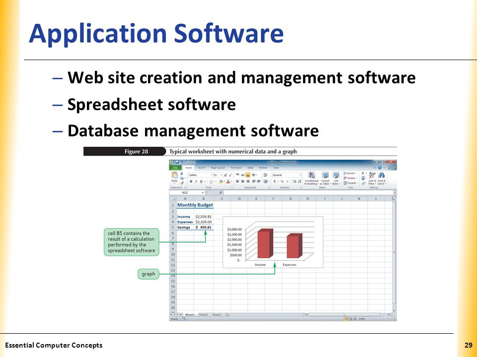 XP Application Software – Web site creation and management software – Spreadsheet software – Database management software 29Essential Computer Concept