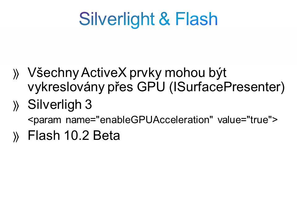 Všechny ActiveX prvky mohou být vykreslovány přes GPU (ISurfacePresenter) Silverligh 3 Flash 10.2 Beta