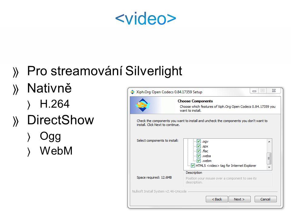 Pro streamování Silverlight Nativně H.264 DirectShow Ogg WebM