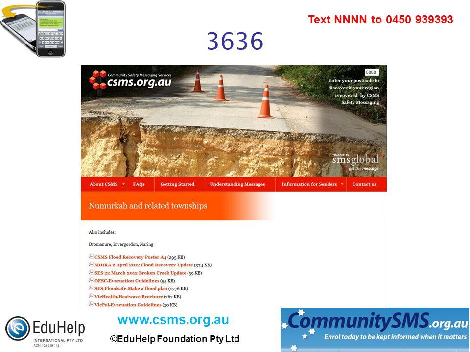 www.csms.org.au ©EduHelp Foundation Pty Ltd Text NNNN to 0450 939393 3636