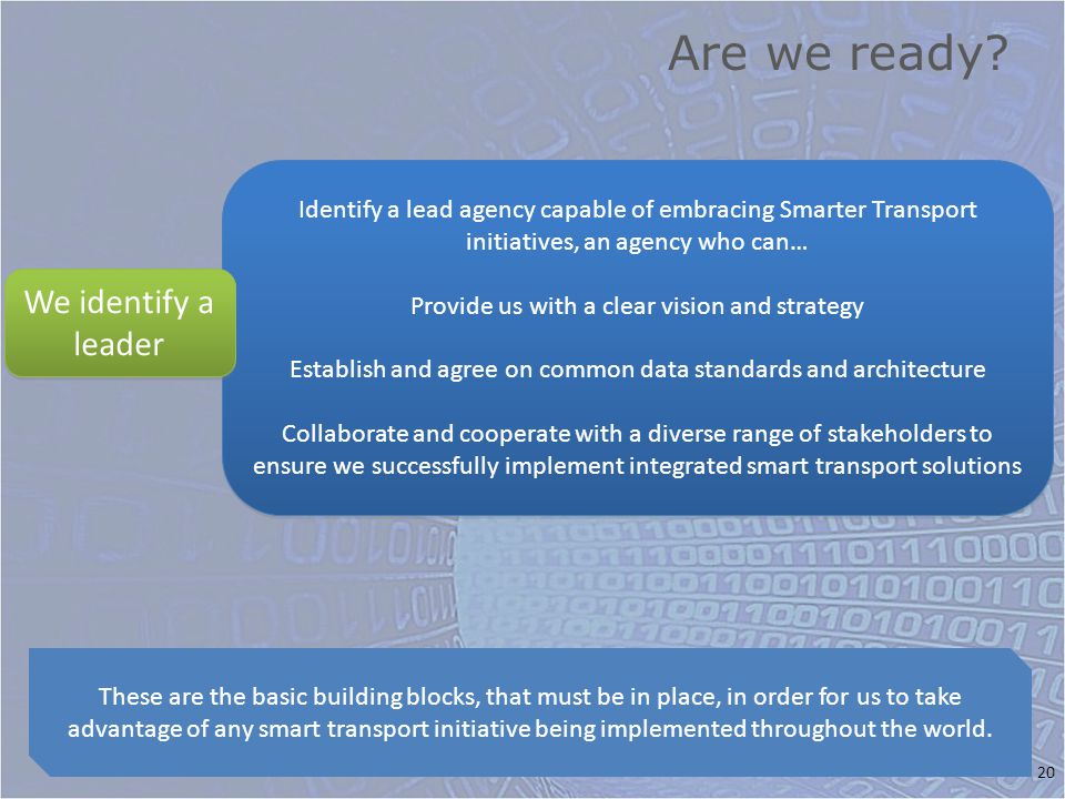 Are we ready? 20 These are the basic building blocks, that must be in place, in order for us to take advantage of any smart transport initiative being