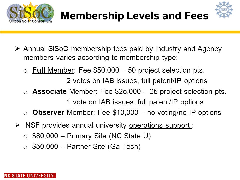 Membership Levels and Fees Annual SiSoC membership fees paid by Industry and Agency members varies according to membership type: o Full Member: Fee $50,000 – 50 project selection pts.