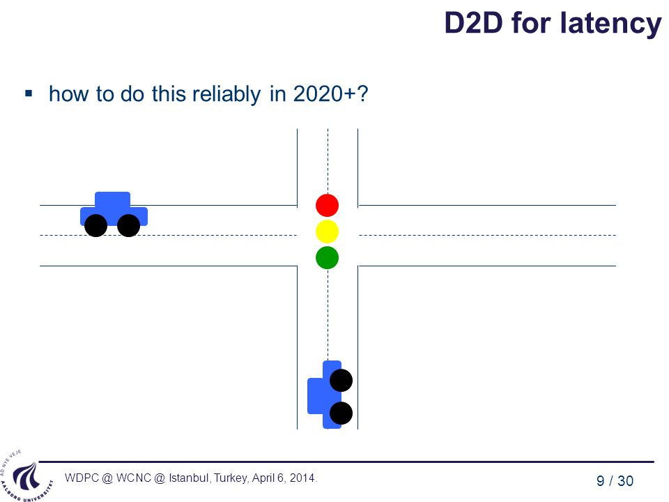 WDPC @ WCNC @ Istanbul, Turkey, April 6, 2014. 9 / 30 D2D for latency how to do this reliably in 2020+?