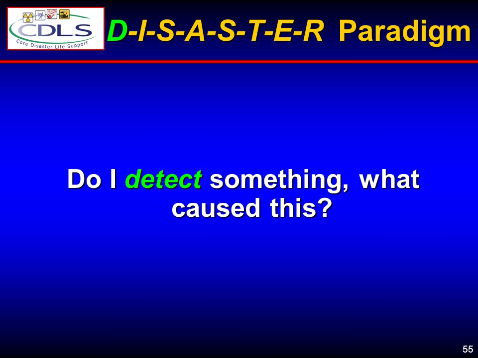 55 D-I-S-A-S-T-E-R Paradigm Do I detect something, what caused this?