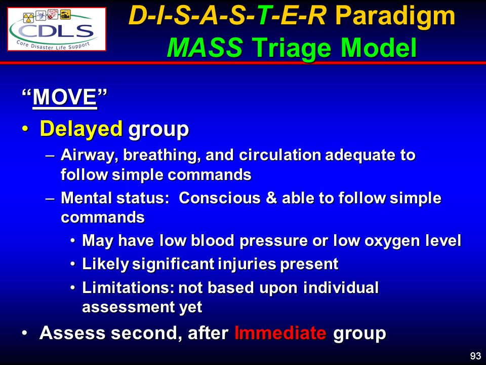 93 D-I-S-A-S-T-E-R Paradigm MASS Triage Model MOVEMOVE Delayed groupDelayed group –Airway, breathing, and circulation adequate to follow simple commands –Mental status: Conscious & able to follow simple commands May have low blood pressure or low oxygen levelMay have low blood pressure or low oxygen level Likely significant injuries presentLikely significant injuries present Limitations: not based upon individual assessment yetLimitations: not based upon individual assessment yet Assess second, after Immediate groupAssess second, after Immediate group