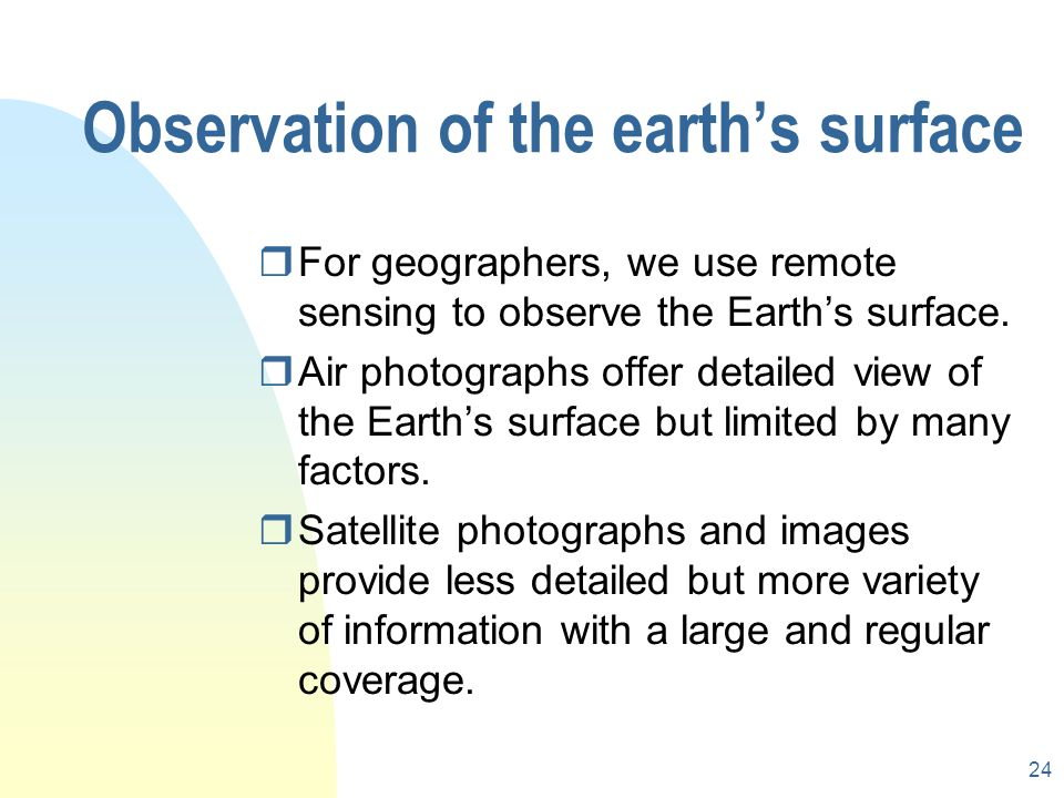 23 How does remote sensing work? rrecording and measuring electromagnetic radiation from the target. rThis recording and measurement can be taken by a