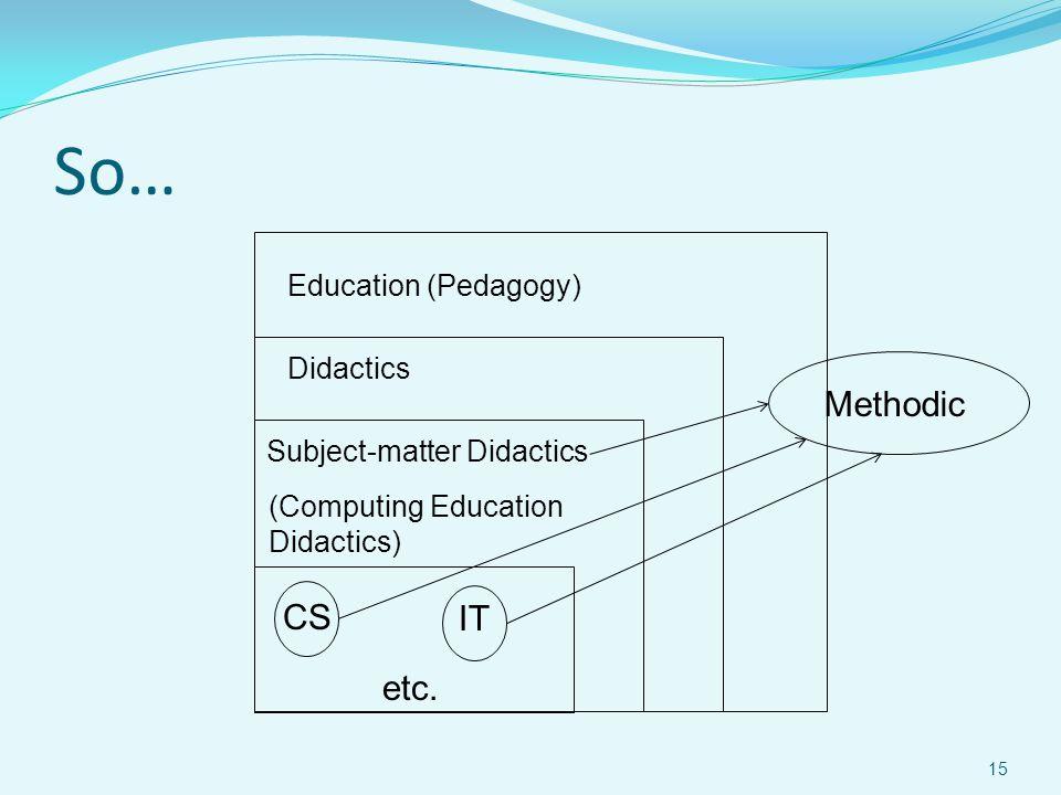 So… Education (Pedagogy) Didactics Subject-matter Didactics (Computing Education Didactics) CS IT etc. Methodic 15