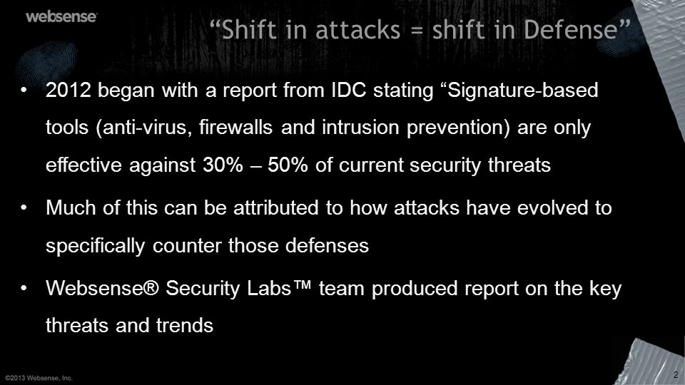 Shift in attacks = shift in Defense 2 2012 began with a report from IDC stating Signature-based tools (anti-virus, firewalls and intrusion prevention)
