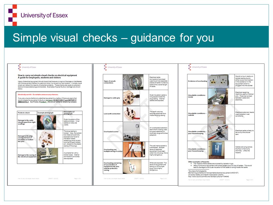 Dangerous Junk! Simple visual checks – guidance for you