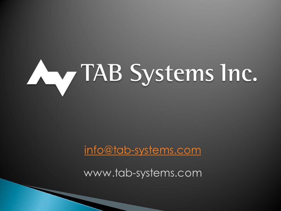 info@tab-systems.com www.tab-systems.com
