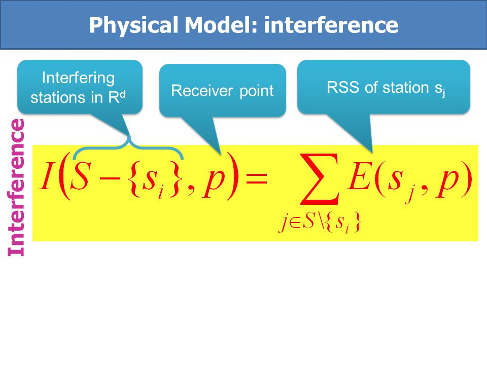 RSS of station S j Noise Interference Physical Models: Signal to interference & noise ratio Receiver point station s i
