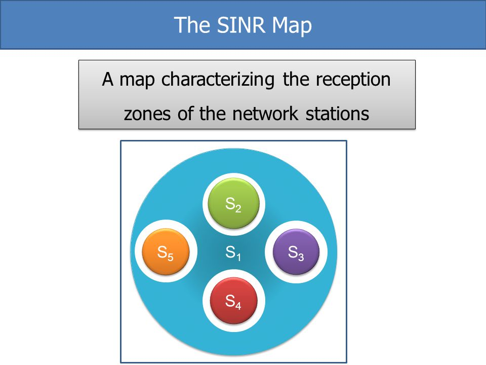 S1S1 S1S1 S2S2 S2S2 S4S4 S4S4 S5S5 S5S5 S3S3 S3S3 The SINR Map A map characterizing the reception zones of the network stations