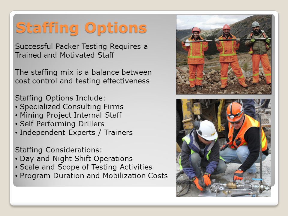 Staffing Options Successful Packer Testing Requires a Trained and Motivated Staff Staffing Options Include: Specialized Consulting Firms Mining Projec