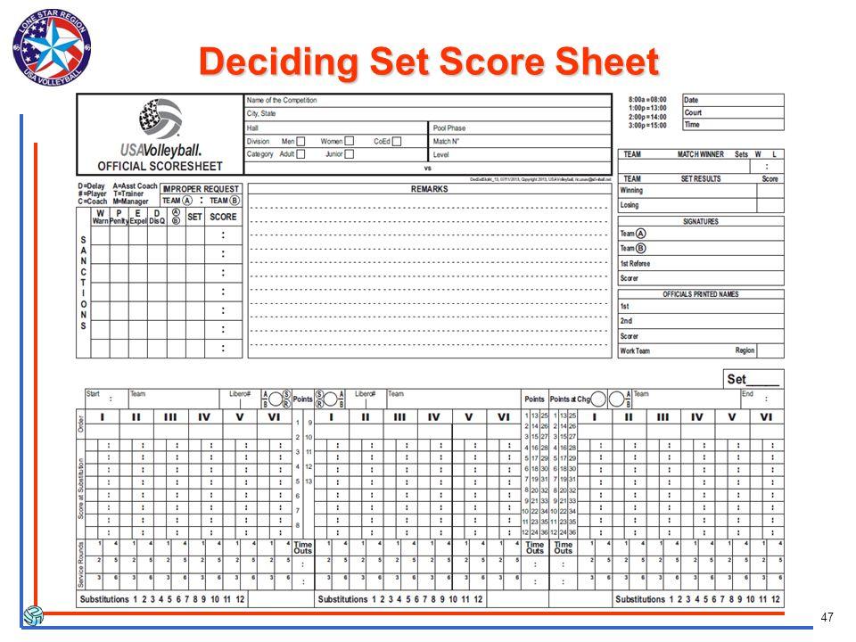 47 Deciding Set Score Sheet