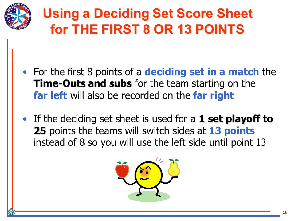 50 Time-Outs and subsFor the first 8 points of a deciding set in a match the Time-Outs and subs for the team starting on the far left will also be recorded on the far right 1 set playoff to 25If the deciding set sheet is used for a 1 set playoff to 25 points the teams will switch sides at 13 points instead of 8 so you will use the left side until point 13 Using a Deciding Set Score Sheet for THE FIRST 8 OR 13 POINTS