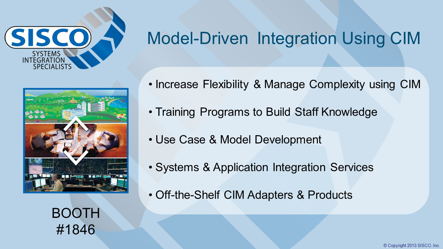 © Copyright 2013 SISCO, Inc. Model-Driven Integration Using CIM Increase Flexibility & Manage Complexity using CIM Training Programs to Build Staff Kn