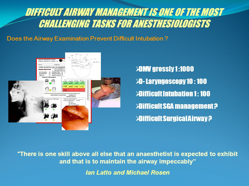 5 AREAS OF DIFFICULT AIRWAY MANAGEMENT Difficult mask ventilation Difficult supraglottic airway Difficult laryngoscopy Difficult intubation Difficult surgical airway