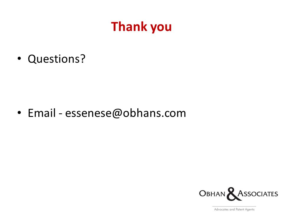 Thank you Questions Email - essenese@obhans.com