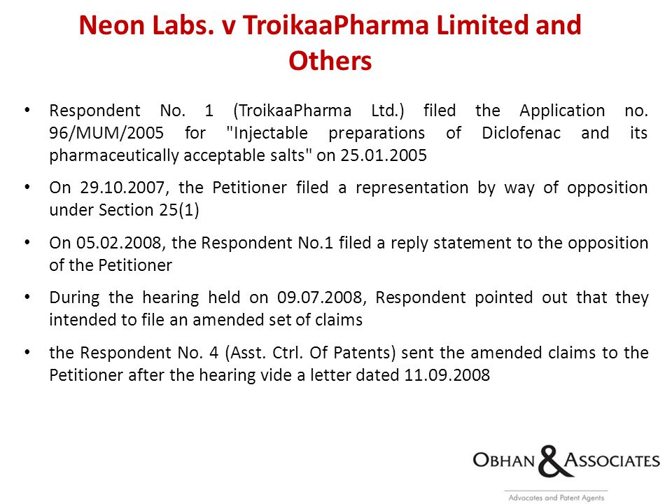 Neon Labs. v TroikaaPharma Limited and Others Respondent No.