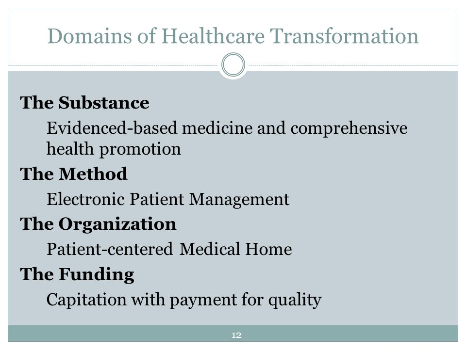 Domains of Healthcare Transformation The Substance Evidenced-based medicine and comprehensive health promotion The Method Electronic Patient Managemen