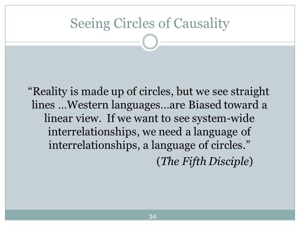 Seeing Circles of Causality Reality is made up of circles, but we see straight lines …Western languages…are Biased toward a linear view. If we want to