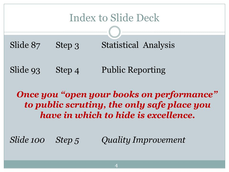 Index to Slide Deck Slide 87Step 3 Statistical Analysis Slide 93Step 4Public Reporting Once you open your books on performance to public scrutiny, the