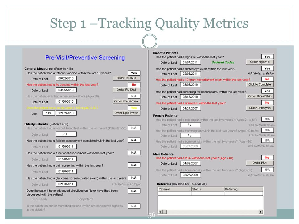 Step 1 –Tracking Quality Metrics 56
