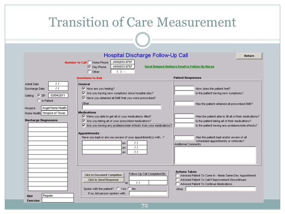 Transition of Care Measurement 72