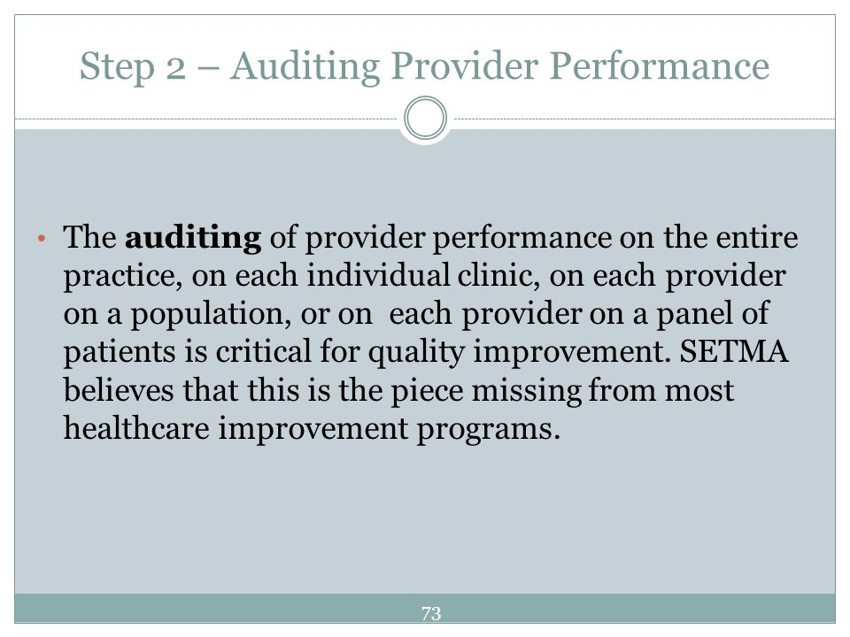 Step 2 – Auditing Provider Performance The auditing of provider performance on the entire practice, on each individual clinic, on each provider on a p