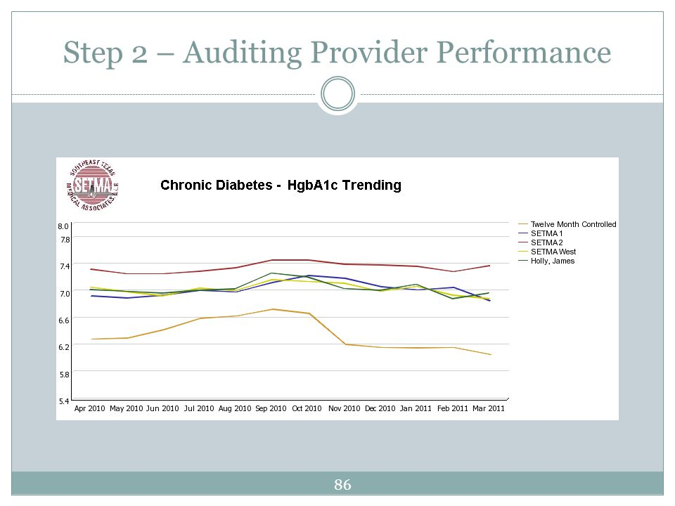 Step 2 – Auditing Provider Performance 86