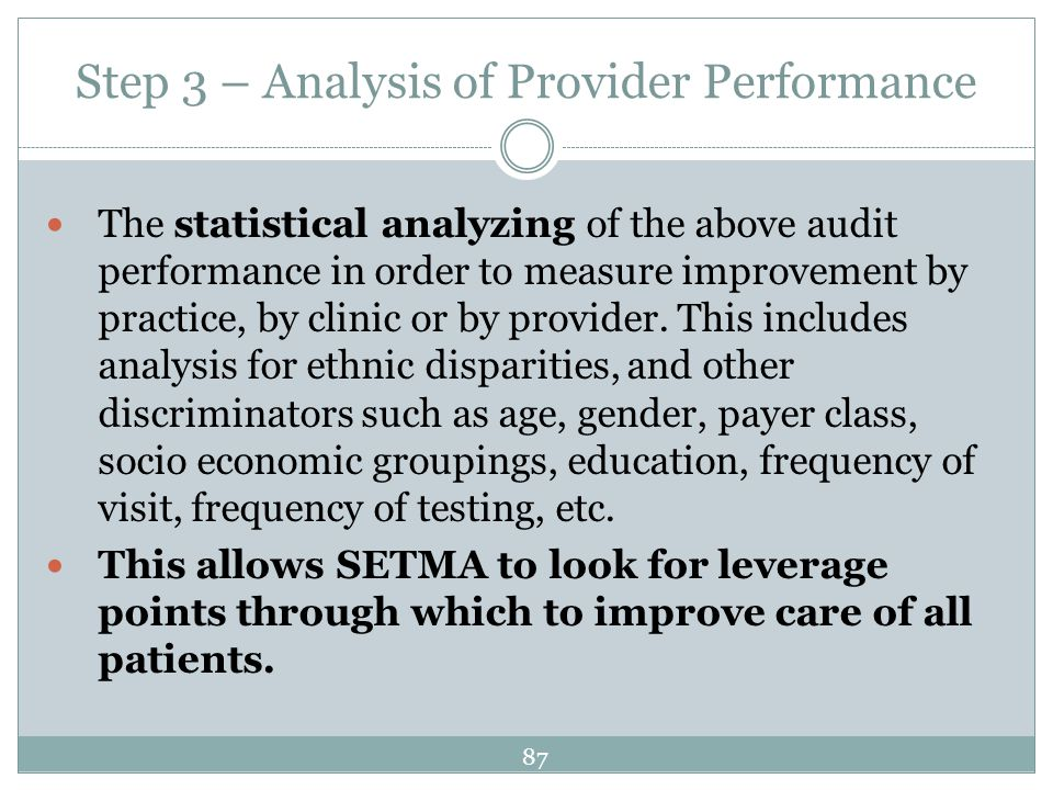 Step 3 – Analysis of Provider Performance The statistical analyzing of the above audit performance in order to measure improvement by practice, by cli