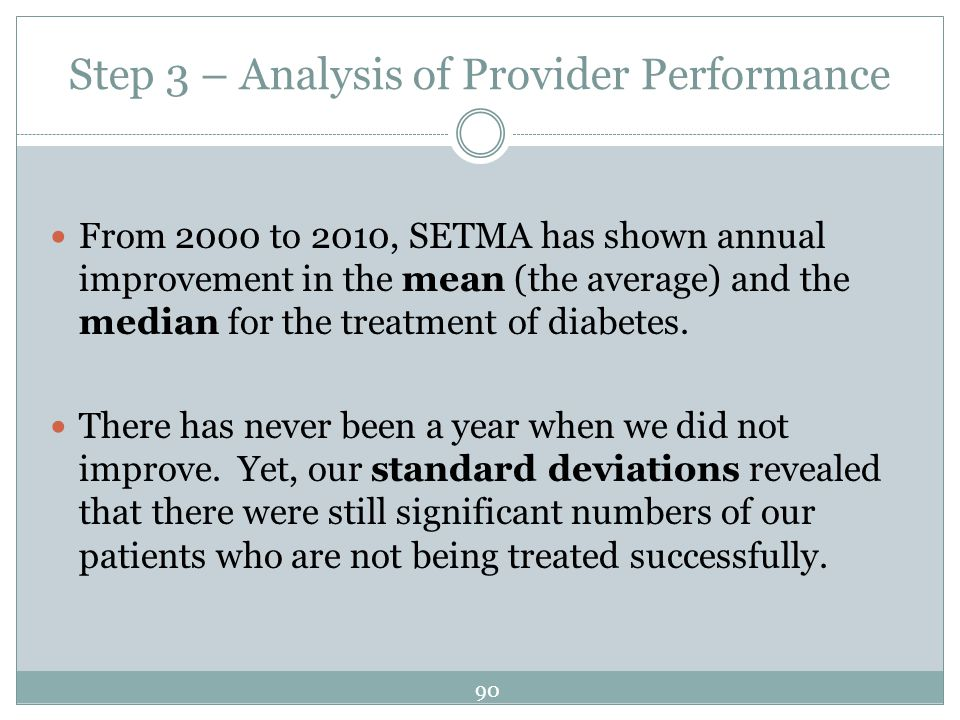 Step 3 – Analysis of Provider Performance From 2000 to 2010, SETMA has shown annual improvement in the mean (the average) and the median for the treat