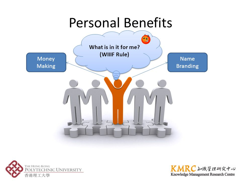 Personal Benefits Name Branding Money Making What is in it for me (WIIIF Rule)