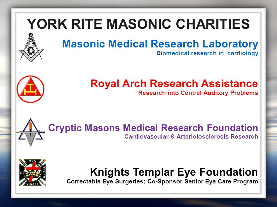 Masonic Medical Research Laboratory Biomedical research in cardiology Royal Arch Research Assistance Research into Central Auditory Problems Cr yptic Masons Medical Research Foundation Cardiovascular & Arteriolosclerosis Research Knights Templar Eye Foundation Correctable Eye Surgeries; Co-Sponsor Senior Eye Care Program YORK RITE MASONIC CHARITIES