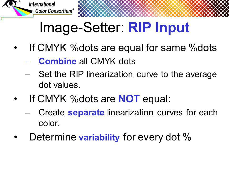 Image-Setter: RIP Input If CMYK %dots are equal for same %dots –Combine all CMYK dots –Set the RIP linearization curve to the average dot values. If C