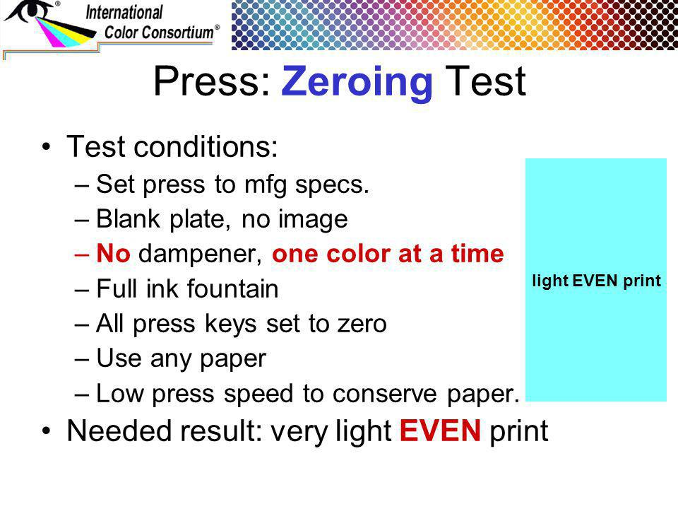 Press: Zeroing Test Test conditions: –Set press to mfg specs.