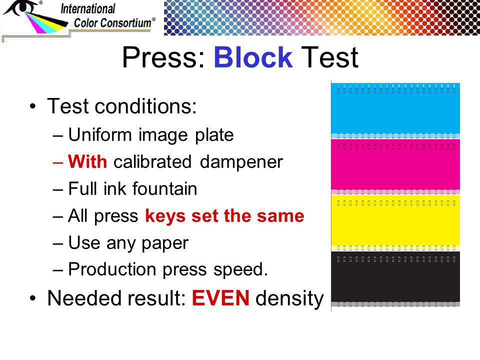 Press: Block Test Test conditions: –Uniform image plate –With calibrated dampener –Full ink fountain –All press keys set the same –Use any paper –Prod