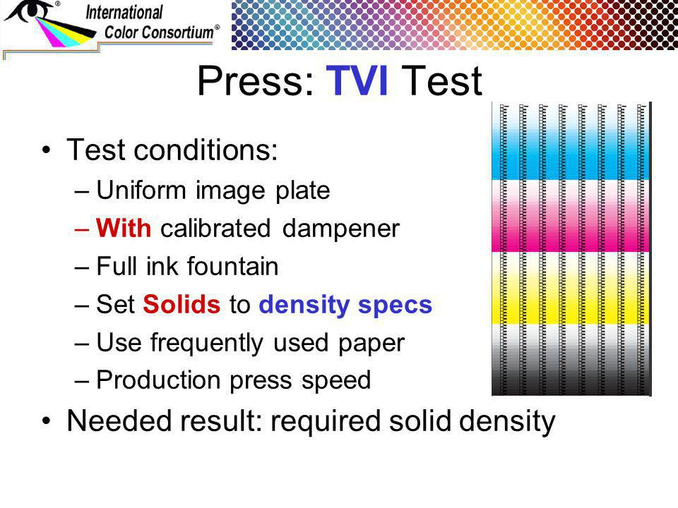Press: TVI Test Test conditions: –Uniform image plate –With calibrated dampener –Full ink fountain –Set Solids to density specs –Use frequently used paper –Production press speed Needed result: required solid density