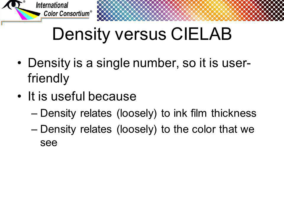 Density versus CIELAB Density is a single number, so it is user- friendly It is useful because –Density relates (loosely) to ink film thickness –Density relates (loosely) to the color that we see