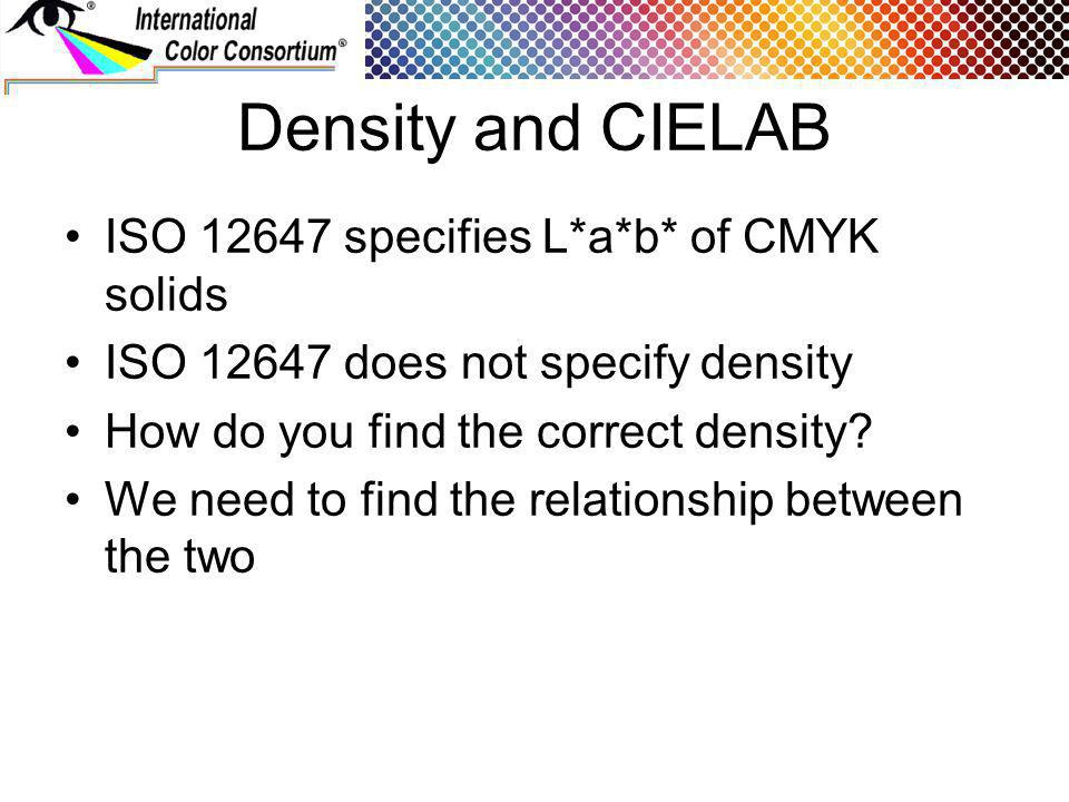 Density and CIELAB ISO specifies L*a*b* of CMYK solids ISO does not specify density How do you find the correct density.