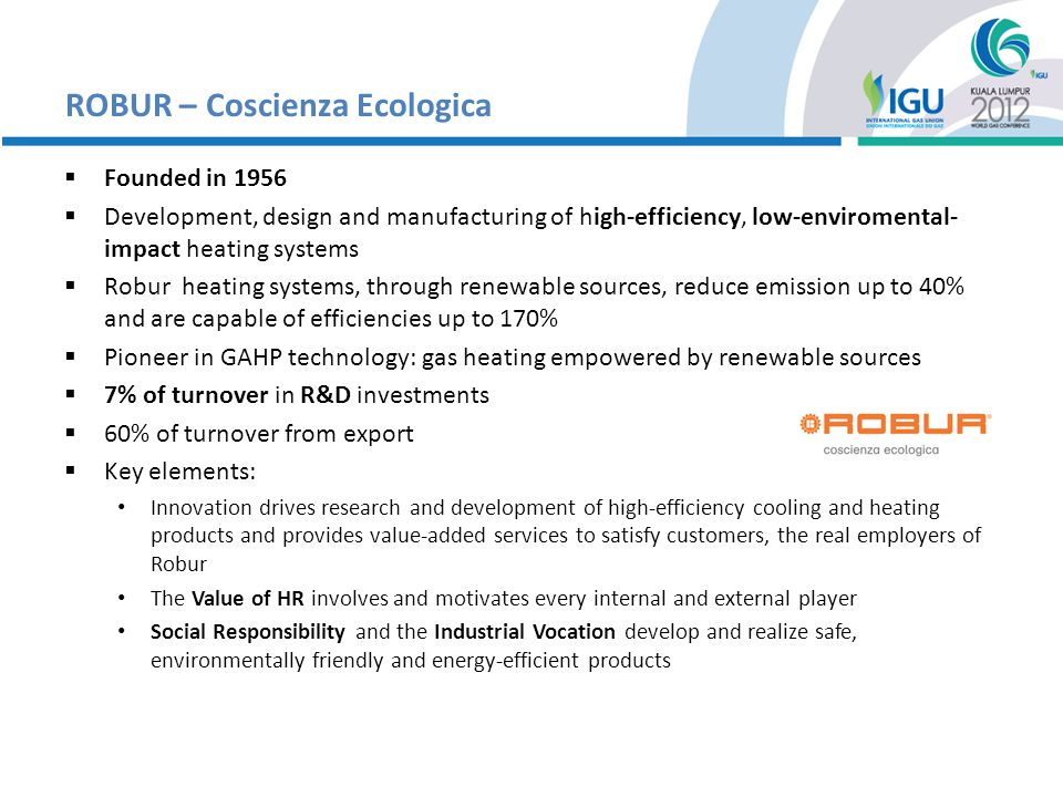 Regas EMMa – The concept Regas aim was to introduce even into the gas distribution network the idea of sustainability through efficiency and renewable energy One of the most energy-spending process in natural gas network transportation and distribution is pre-heating Thats why Regas developed and launched EMMa on the market With EMMa is now possible to: Lower natural gas consumption – Saves money Lower CO2 emission – Helps saving the Planet Figures speak: Field-test average result – 23,000 hours operating time: -34% natural gas consumption