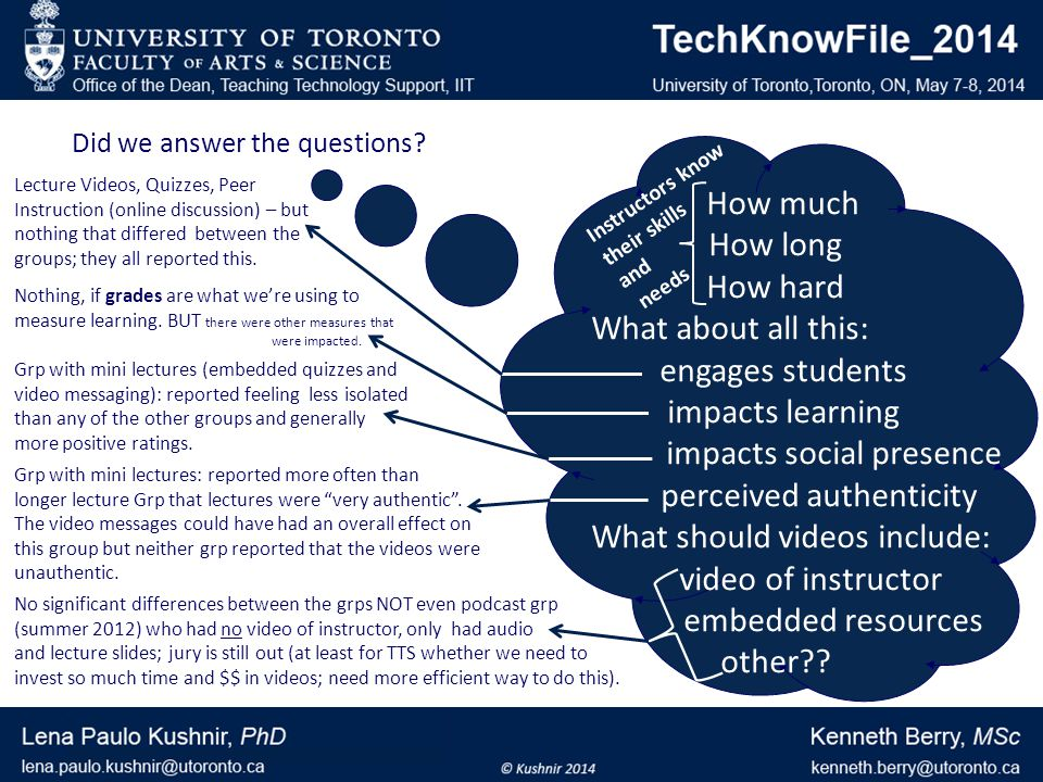 How much How long How hard What about all this: engages students impacts learning impacts social presence perceived authenticity What should videos include: video of instructor embedded resources other .