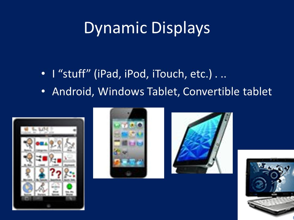 Dynamic Displays I stuff (iPad, iPod, iTouch, etc.)...