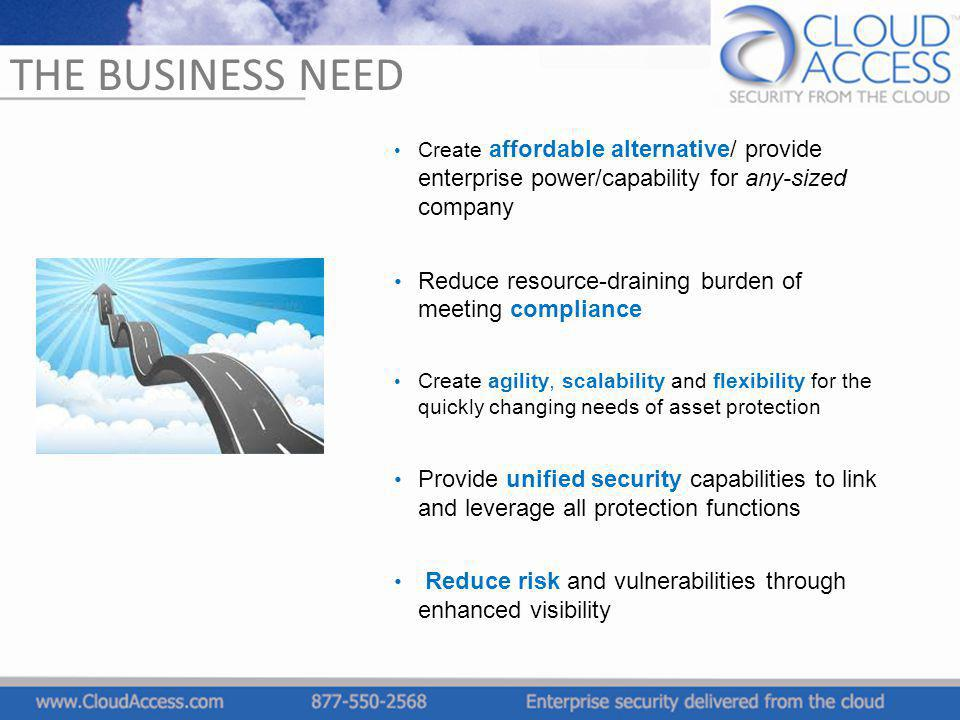 THE BUSINESS NEED Create affordable alternative/ provide enterprise power/capability for any-sized company Reduce resource-draining burden of meeting
