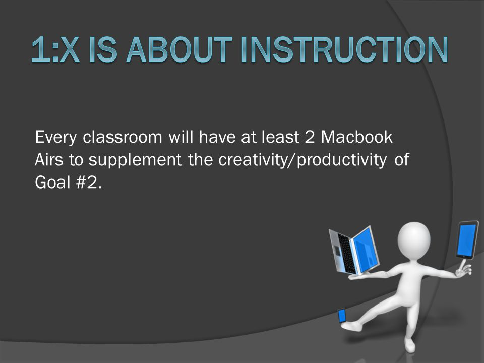 Every classroom will have at least 2 Macbook Airs to supplement the creativity/productivity of Goal #2.