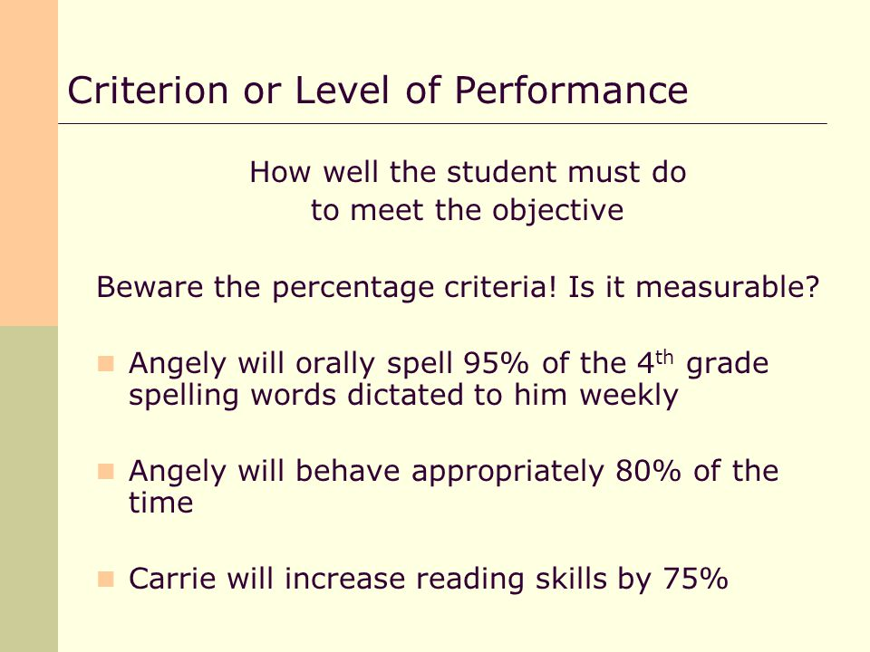 How well the student must do to meet the objective Beware the percentage criteria.