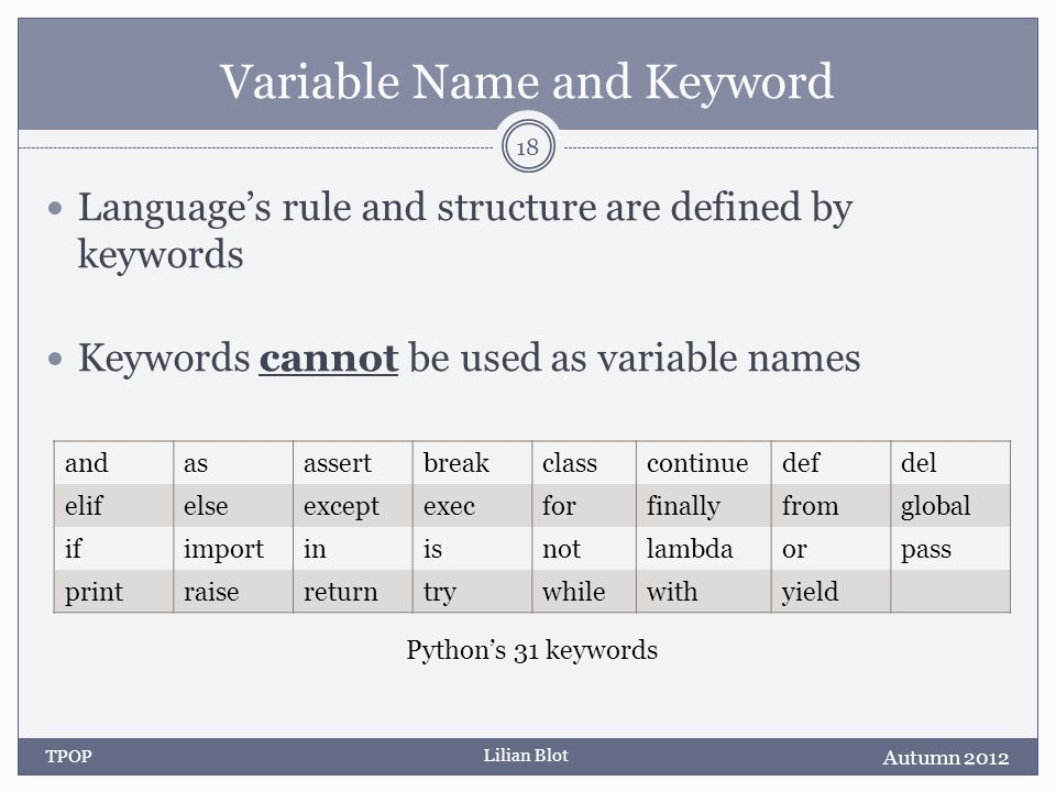 Lilian Blot Variable Name and Keyword Languages rule and structure are defined by keywords Keywords cannot be used as variable names Autumn 2012 TPOP